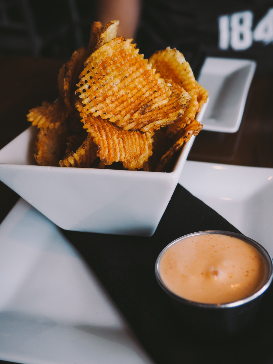 bar chips (crispy gaufrette chips, rosemary salt, sriracha mayo dipping sauce) via red wagon pizza company in sw minneapolis via playswellwithbutter.com