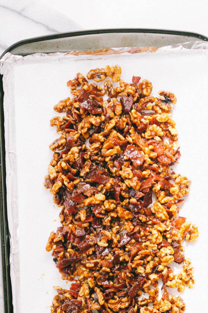 spicy candied nuts with bacons via playswellwithbutter | not your average candied nuts; these spicy candied nuts with bacon are amped up with tons of flavor from center-cut bacon, brown sugar, maple syrup, chili powder, & kosher salt, making them the perfect sweet & savory snack