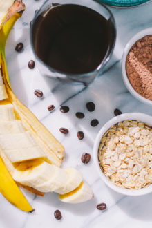 mocha protein smoothie via playswellwithbutter   perfect for a fast, on-the-go breakfast, this healthy mocha protein smoothie is easy to make, packed with protein & fiber to keep you full until lunch, & comes with the kind of caffeine buzz that's the perfect way to start the day