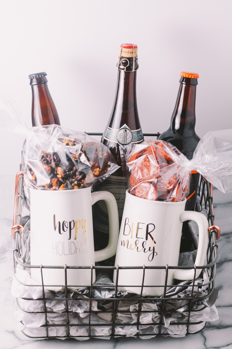 Homemade holiday beer gift basket plays well with butter for Homemade christmas gift baskets for couples