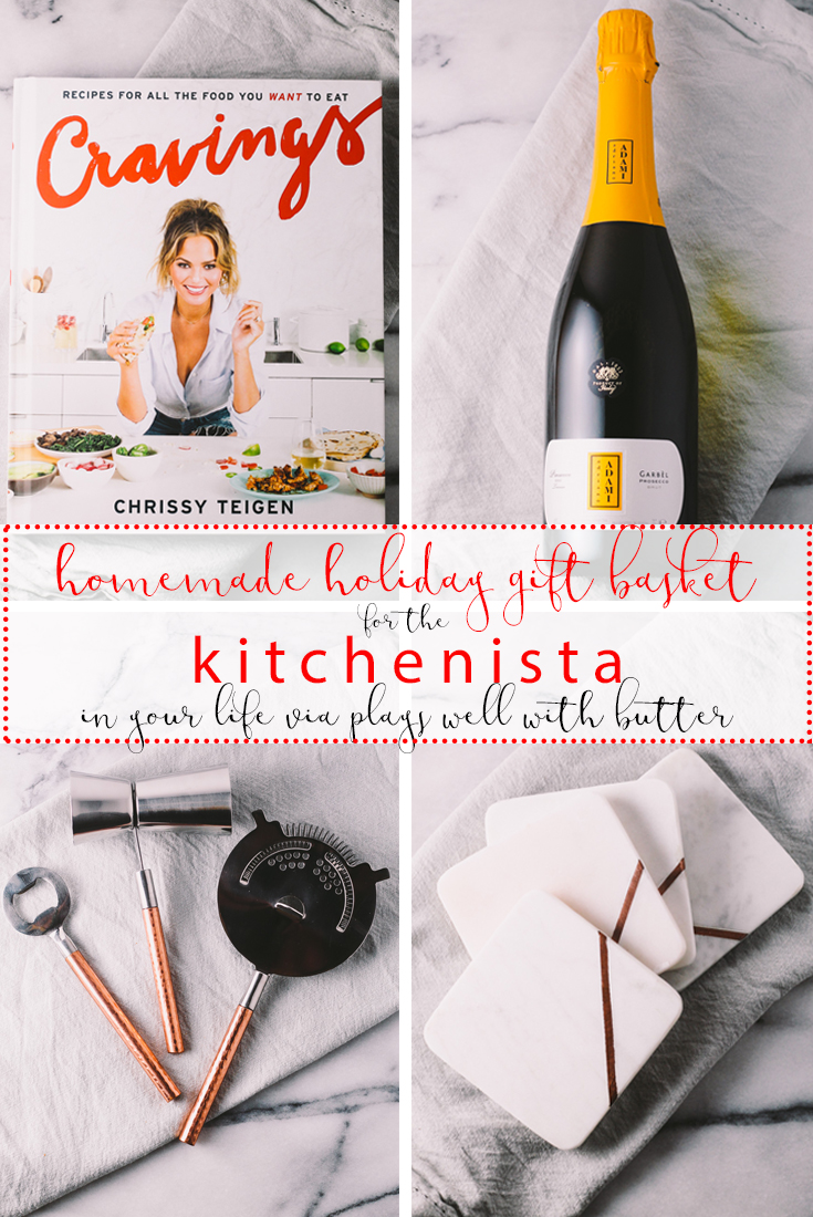 homemade holiday kitchenista gift basket| a plays well with butter holiday gift basket series | a homemade gift basket perfect for the young & trendy person who is just starting to take interest in food & dining. this gift basket features some prosecco for a festive holiday cocktail, on-trend bar gadgets, & chrissy teigen's cookbook.