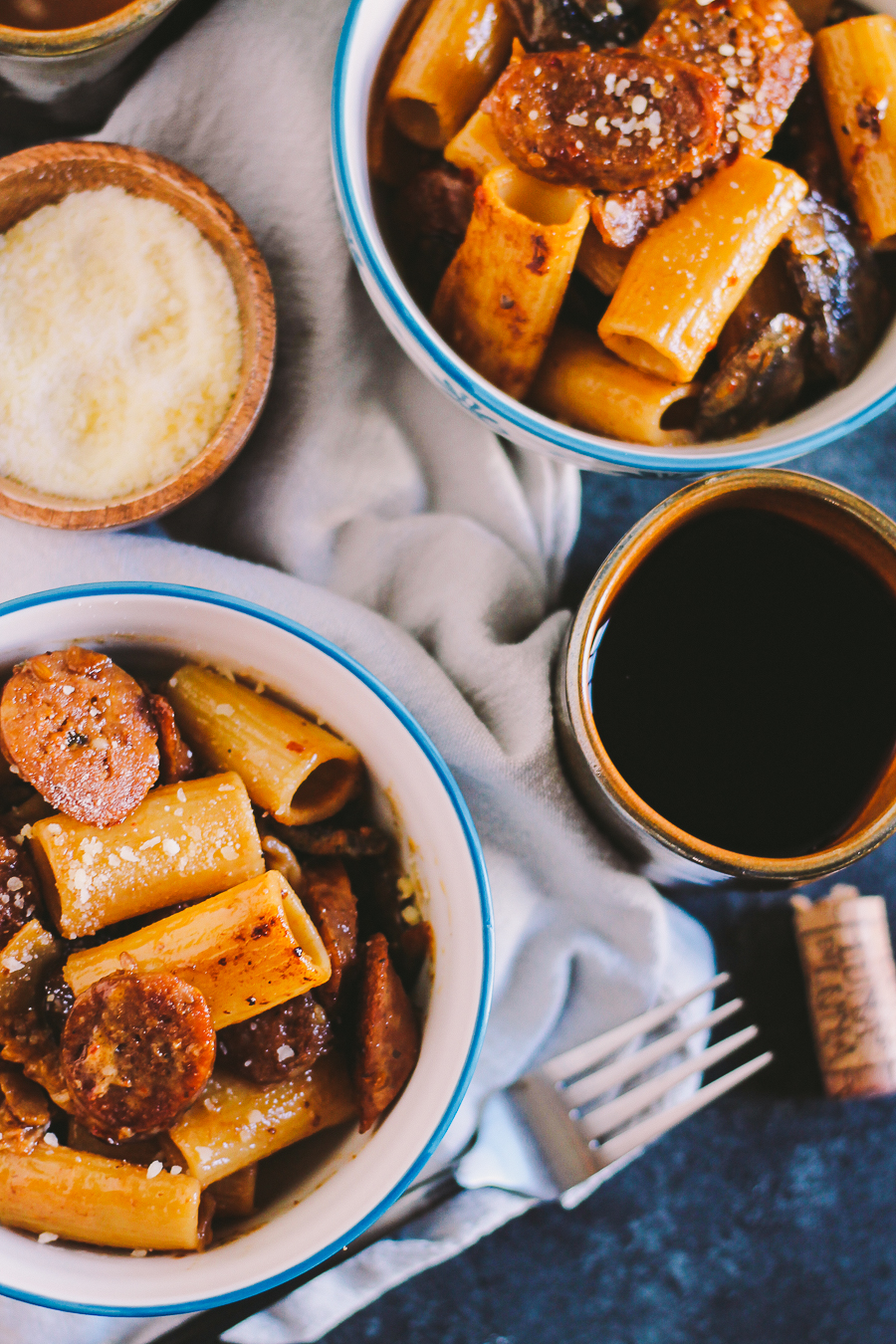 rigatoni tossed into a creamy marsala pan sauce with spicy italian sausage & mushrooms, cozy enough for a date night at home & easy enough to throw together for a spontaneous weeknight dinner with friends   pasta recipe   creamy marsala pasta sauce   easy pasta recipe   date night recipe   date night idea
