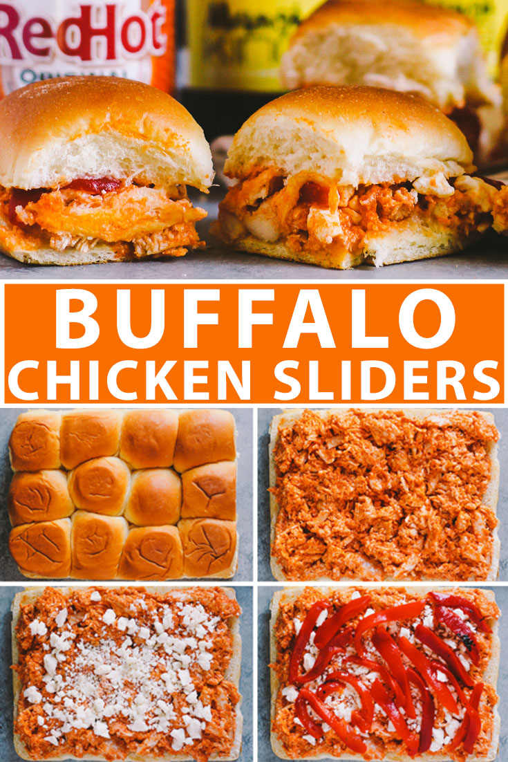 buffalo chicken sliders make the perfect game day snack & the best part is that they come together in 20 minutes from start to finish & feed a crowd of up to 12 people…it doesn't get easier than that! | game day recipe, easy entertaining, buffalo chicken recipe, sliders recipe |