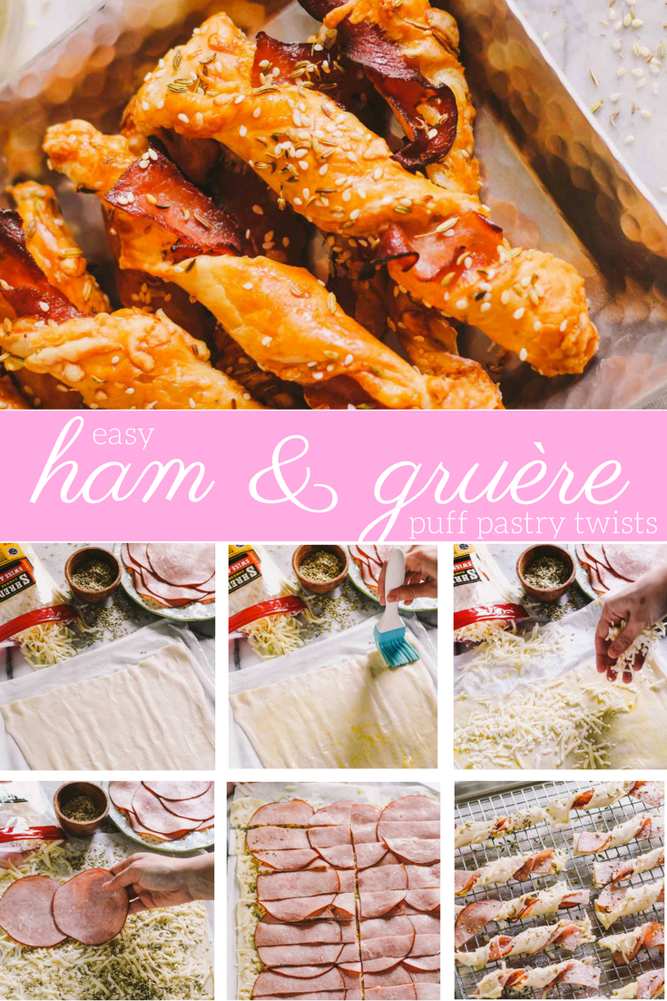 homemade ham & gruyère twists recipe via playswellwithbutter.com | served in bite-sized form, they make a great little snack for an elegant brunch gathering & they're equally delicious when you have friends over for cocktails & appetizers! | brunch ideas, easter ideas, elegant appetizers, easy entertaining |