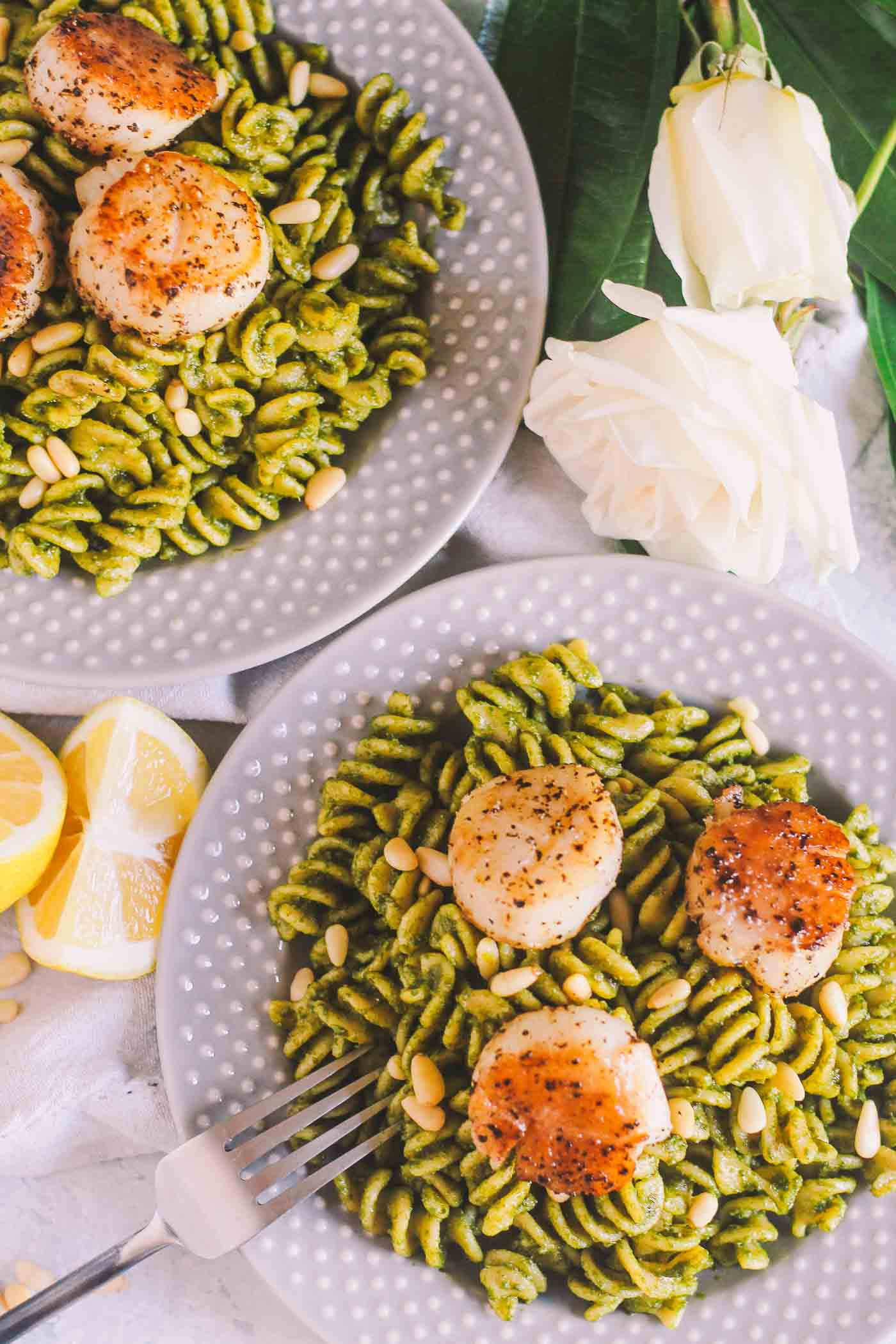 Kale Pesto Pasta With Perfectly Seared Sea Scallops Plays Well