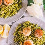 springtime kale pesto pasta with perfectly seared scallops