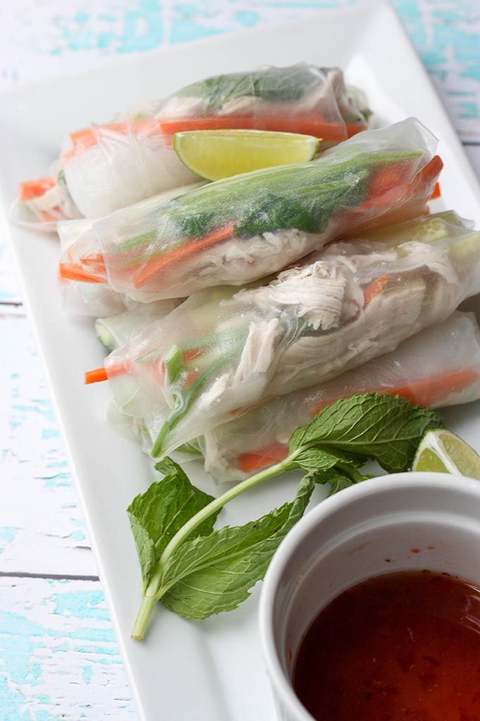 shredded chicken spring rolls (+ a to die for dipping sauce!) are the perfect summer appetizer for a dinner or lunch! super fresh & super easy to whip up!!