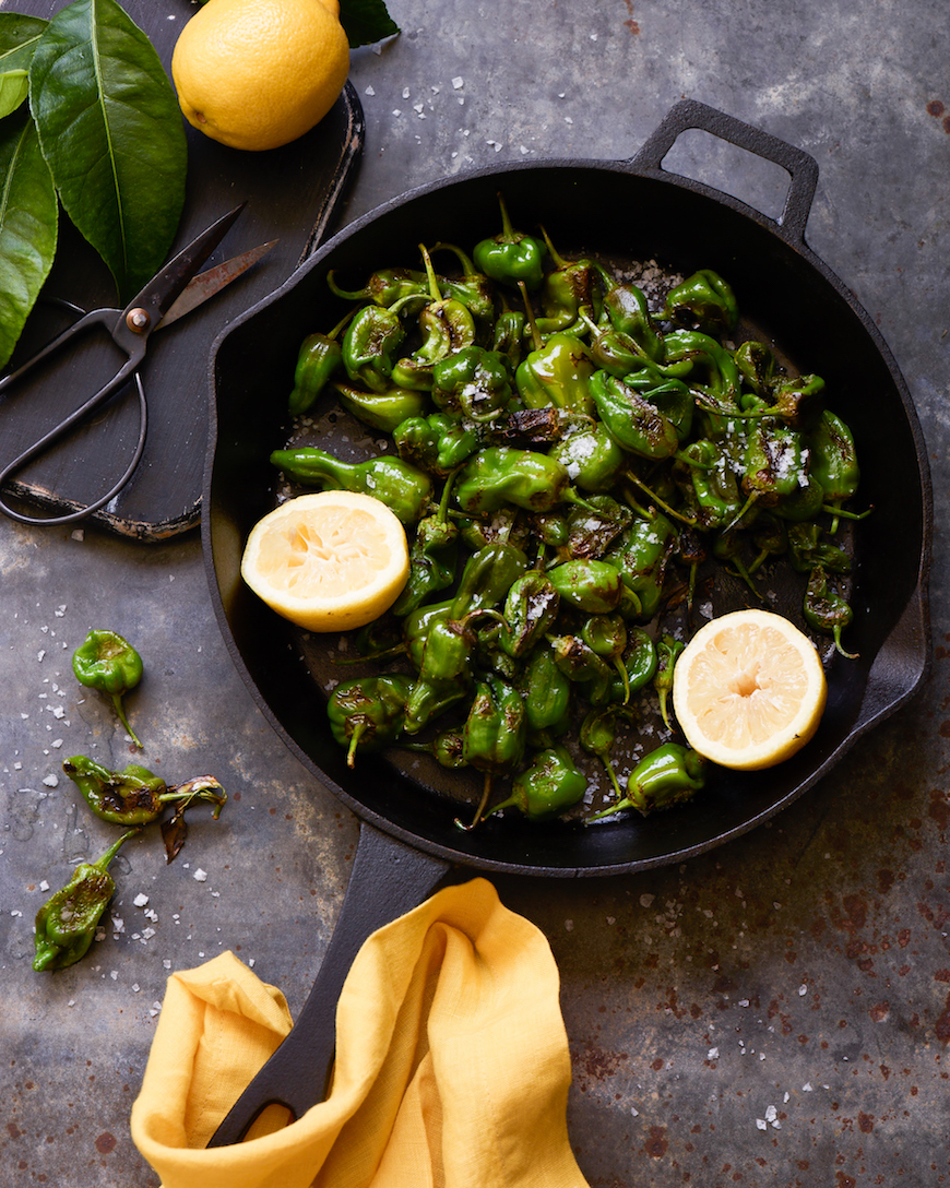 blistered padron peppers + 50 recipes for perfect for summer parties! | summer food, summer parties, summer recipes, summer appetizers, summer desserts, summer drinks, easy entertaining, entertaining tips |