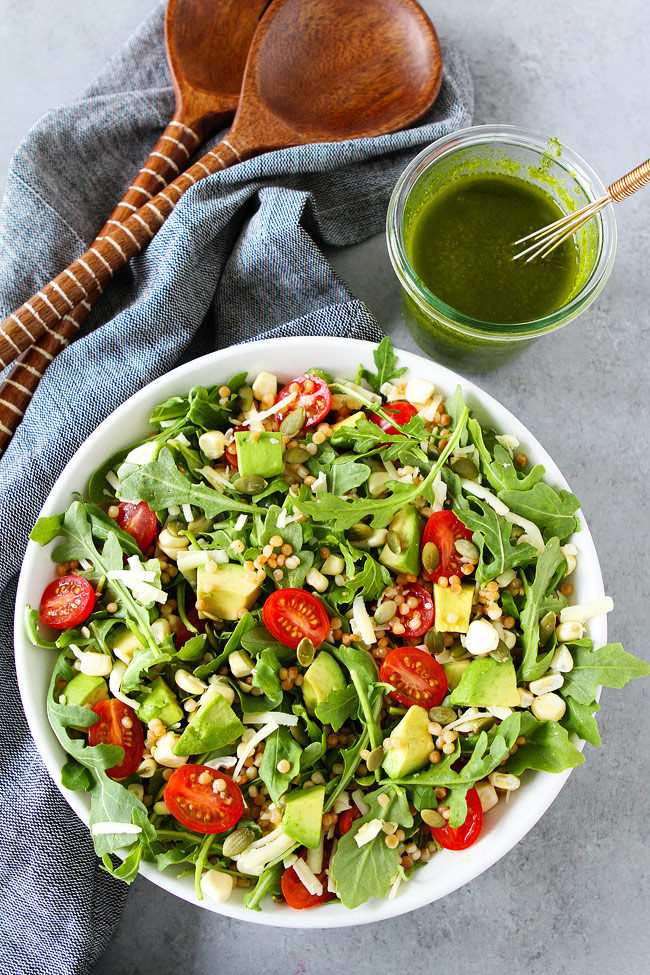 summer arugula salad with basil vinaigrette + 50 recipes for perfect for summer parties! | summer food, summer parties, summer recipes, summer appetizers, summer desserts, summer drinks, easy entertaining, entertaining tips |