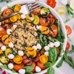mom's summer salad with arugula, tomatoes, & israeli couscous