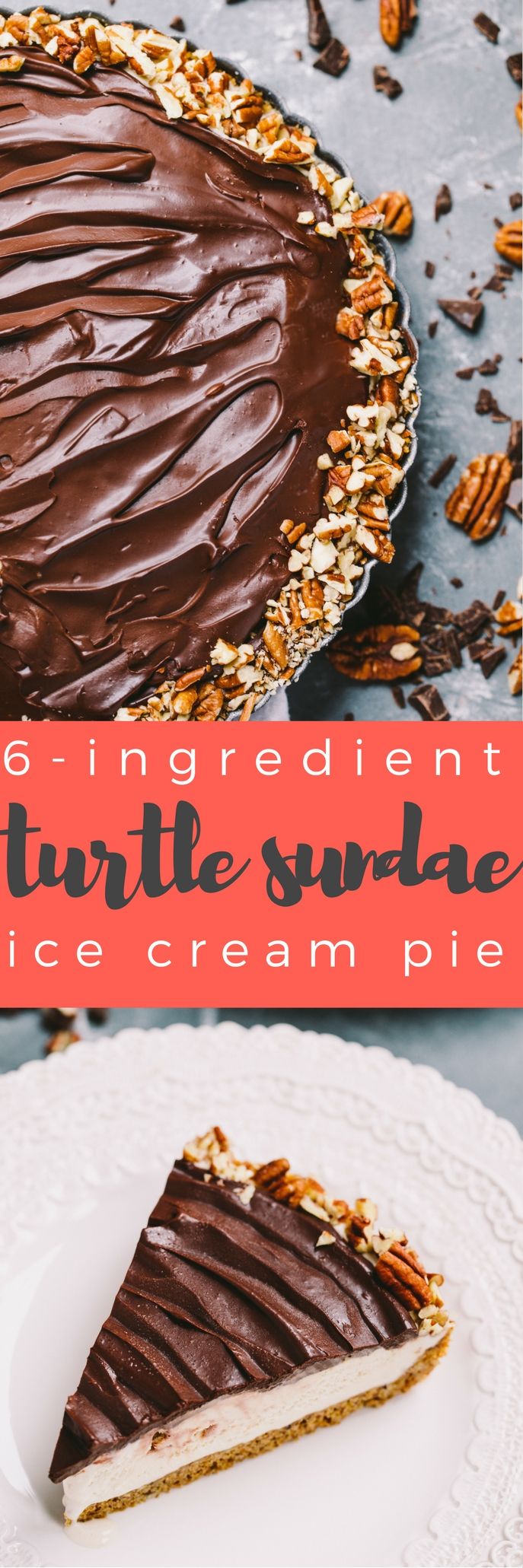 an ice cream pie & a turtle sundae all in one! this turtle sundae ice cream pie starts with a pecan-graham cracker crust, is filled with salted caramel ice cream, & is topped off with a thick, fudgy layer of dark chocolate ganache & roughly chopped pecans. 6 ingredients needed to make this turtle sundae ice cream pie - this salty sweet summer dessert couldn't be easier or more delicious.