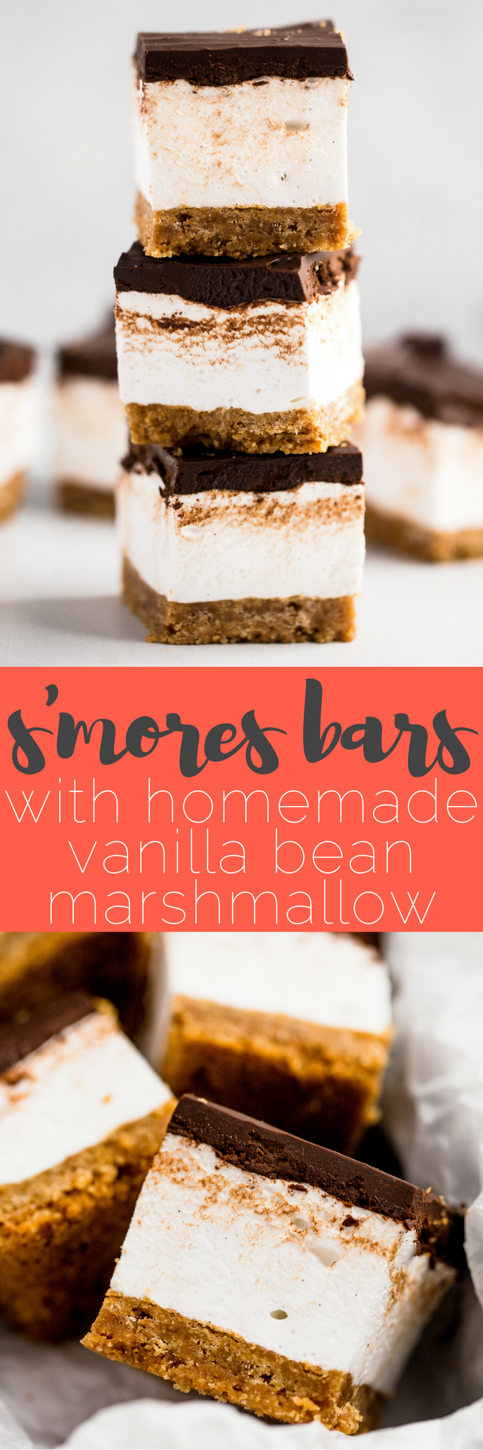 everyone's childhood summer favorite gets a major update in this recipe for s'mores bars. these s'mores bars sandwich a thick layer of fluffy homemade vanilla bean marshmallow in between graham cracker crust & salted dark chocolate ganache. your favorite campfire treat will never be the same!