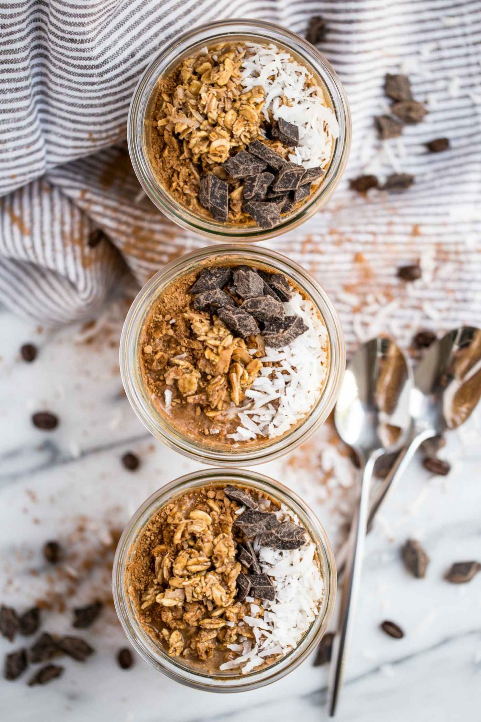 easy chocolate coconut cold brew overnight oats - plays