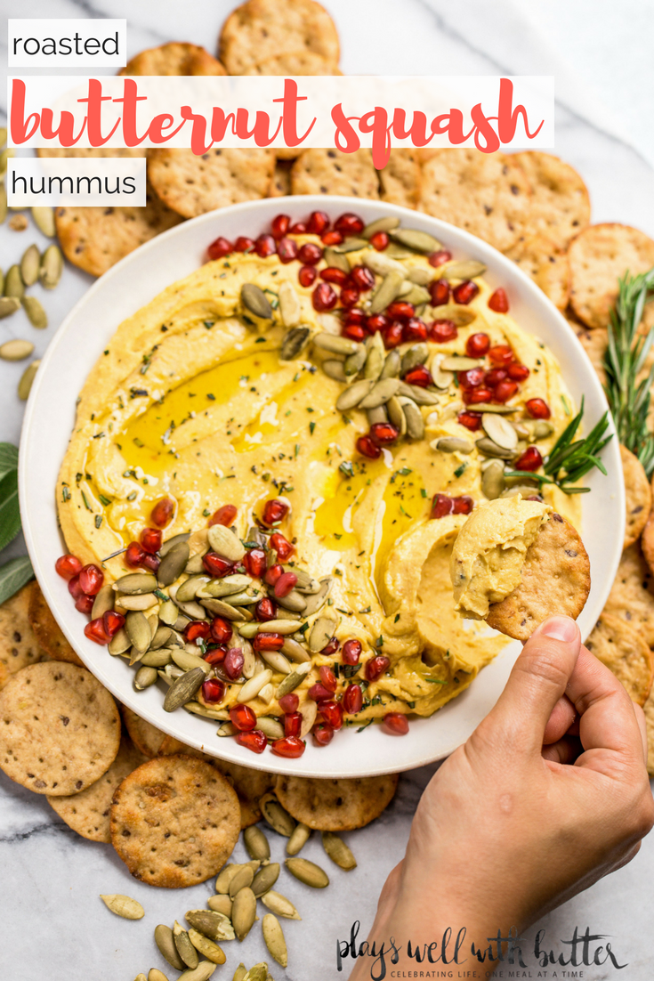 the creamiest ever homemade roasted butternut squash hummus, loaded with roasted butternut squash & roasted garlic. this roasted butternut squash hummus is perfect for a game day spread or a holiday party! #playswellwithbutter #butternutsquash #hummus #homemadehummus #gameday #friendsgiving