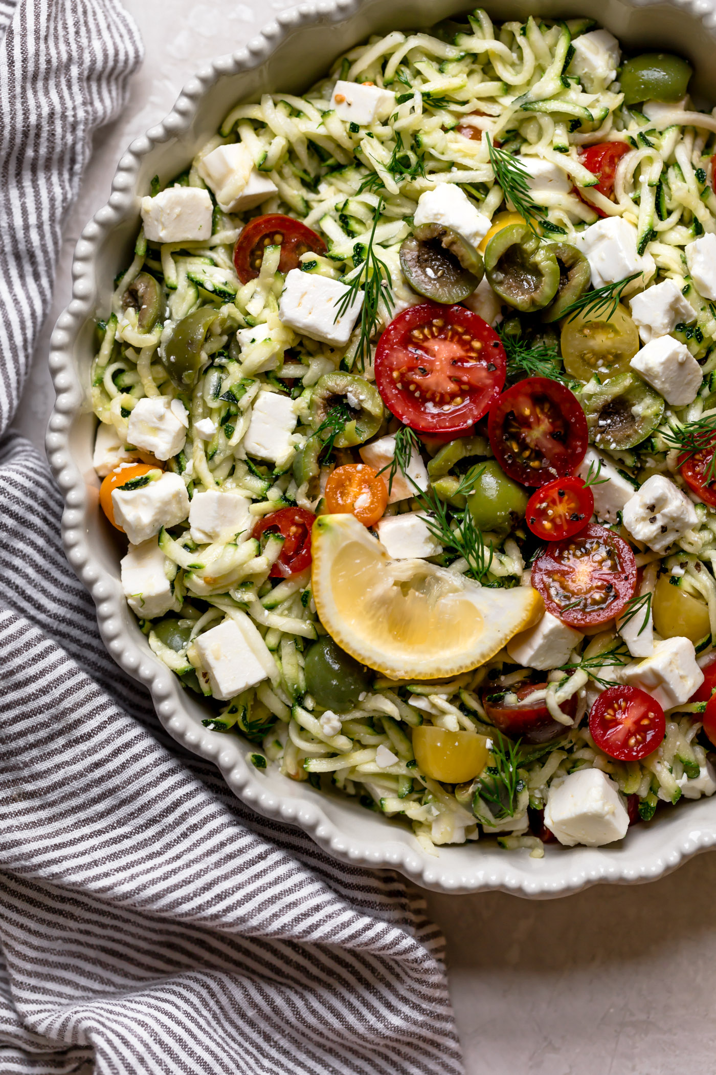 Lemony Grated Zucchini Salad With Tomatoes Olives Amp Feta 7 Ingredients