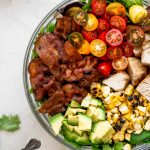 blt salad with grilled chicken, sweet corn & avocado