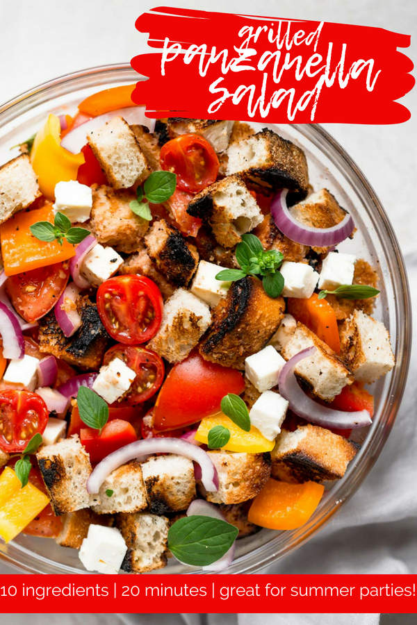 classic panzanella salad with a little twist, this grilled panzanella salad is the perfect end of summer dish. crusty italian bread gets grilled to perfection, then tossed with tomatoes, peppers, onion, & feta in a simple dressing made from olive oil & red wine vinegar. perfect for serving a crowd at parties, or as a simple weeknight side dish. #playswellwithbutter #grilledpanzanellasalad #italianpanzanellasalad #easypanzanellasalad #summersalad #sidedishes #easysaladrecipe
