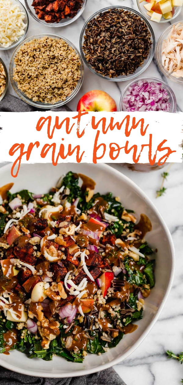 autumn grain bowls. hearty & healthy grain bowls filled with kale, wild rice, quinoa, roasted sweet potatoes, apple, smoked gouda & a cinnamon maple balsamic vinaigrette, these autumn grain bowls are perfect for a healthy dinner, a meal prep lunch to pack for the week, or to serve as a hearty side dish at any holiday meal this season. #playswellwithbutter #grainbowl #healthygrainbowlrecipe #wildricesalad #quinoasalad #saladrecipes #fallsalad #autumnsalad #fallrecipes