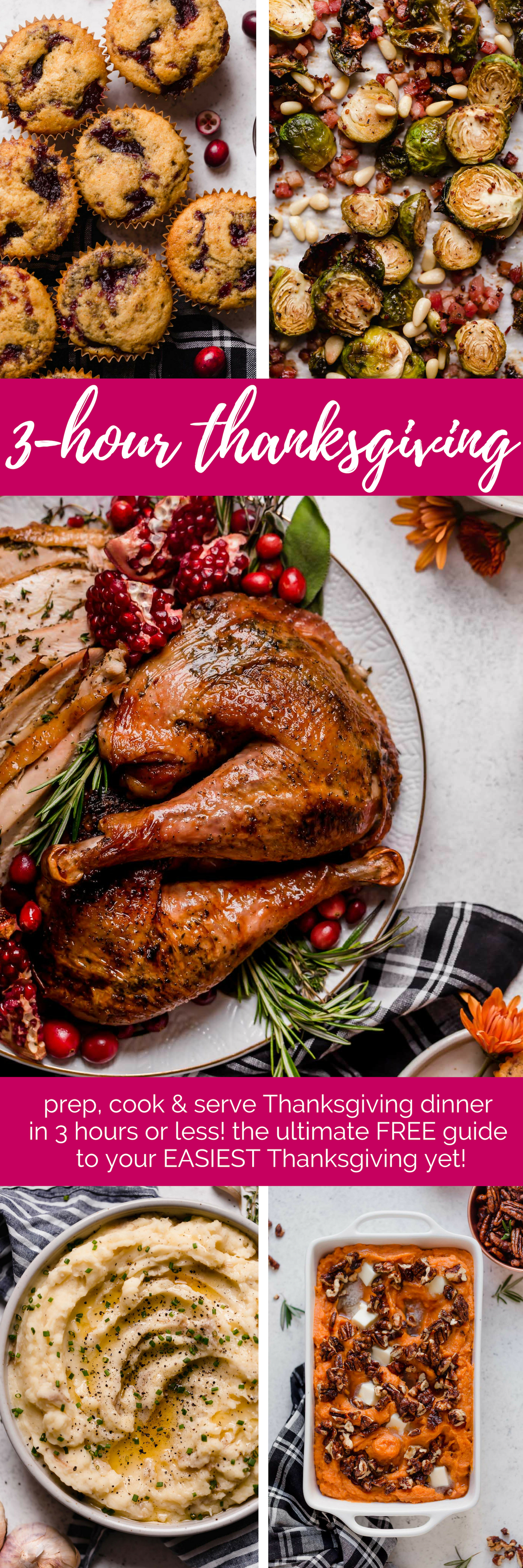 3-Hour Thanksgiving: the ultimate guide for your easiest Thanksgiving yet. this FREE 3-Hour Thanksgiving Guide will help you prep, cook & serve Thanksgiving dinner in 3 hours or less! This guide includes an amazing Thanksgiving turkey recipe, the best buttermilk mashed potatoes, 3 easy Thanksgiving side dishes, & more! Say hello to your easiest holiday dinner yet! #thanksgiving #thanksgivingrecipes #thanksgivingmenu #thanksgivingmealplan #friensgivingrecipes #friendsgiving #holidaymeal #holidaydinner #holiday #turkeydinner #turkeyrecipe #easyturkeyrecipe