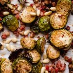 maple mustard roasted brussels sprouts with pancetta, pine nuts & parmesan