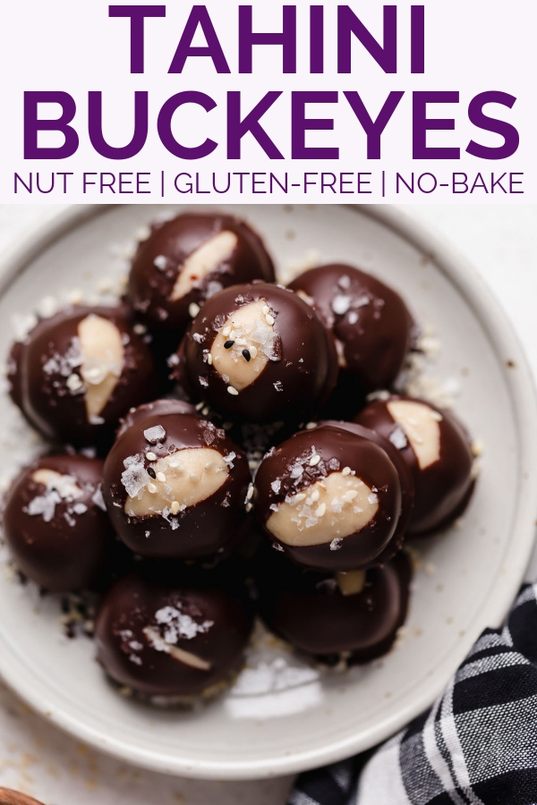 tahini buckeye cookies. everything you love about buckeye balls, with a little modern twist thanks to tahini, or sesame paste. these tahini buckeye cookies are made without peanut butter, making them totally nut-free & allergy friendly. an easy, no-bake cookie recipe to add to your holiday baking list this year!!! #playswellwithbutter #bestbuckeyesrecipe #buckeyeballs #buckeyescookie #buckeyerecipe #tahinirecipe #tahinicookie #nobakecookie #glutenfreedesserts #easychirstmascookie #nutfree
