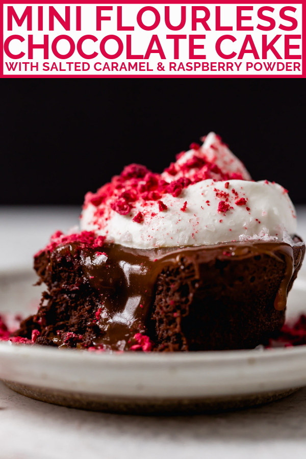 the easiest mini flourless chocolate cake recipe, made with 5 ingredients. these individual flourless chocolate cakes are amazingly light & fudgy all at once. an impressive & elegant dessert for valentine's day date nights or galentine's gatherings! #playswellwithbutter #flourlesschocolatecake #individualflourlesschocolatecake #miniflourlesschocolatecake #easyflourlesschocolatecakerecipe #bestflourlesschocolatecakerecipe #valentinesdaydessert #datenightrecipe #girlsnightrecipe #chocolatedessert