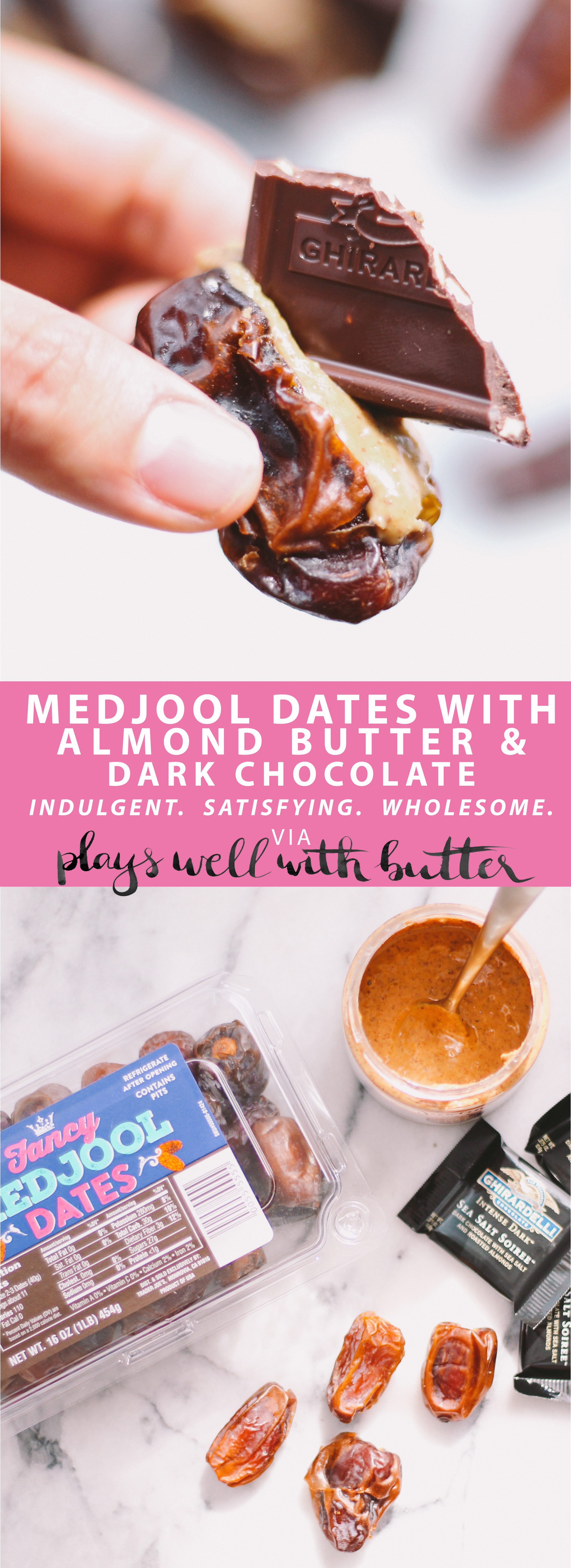 medjool dates with almond butter & dark chocolate via playswellwithbutter | a perfectly simple medjool date snack: medjool dates packed with creamy almond butter & a bittersweet piece of dark chocolate. just as satisfying as an indulgent candy, but made with completely natural & wholesome ingredients, this medjool date snack will absolutely become one of your favorites!