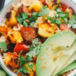 hapa fried rice with grilled pineapple, portuguese sausage & salsa verde