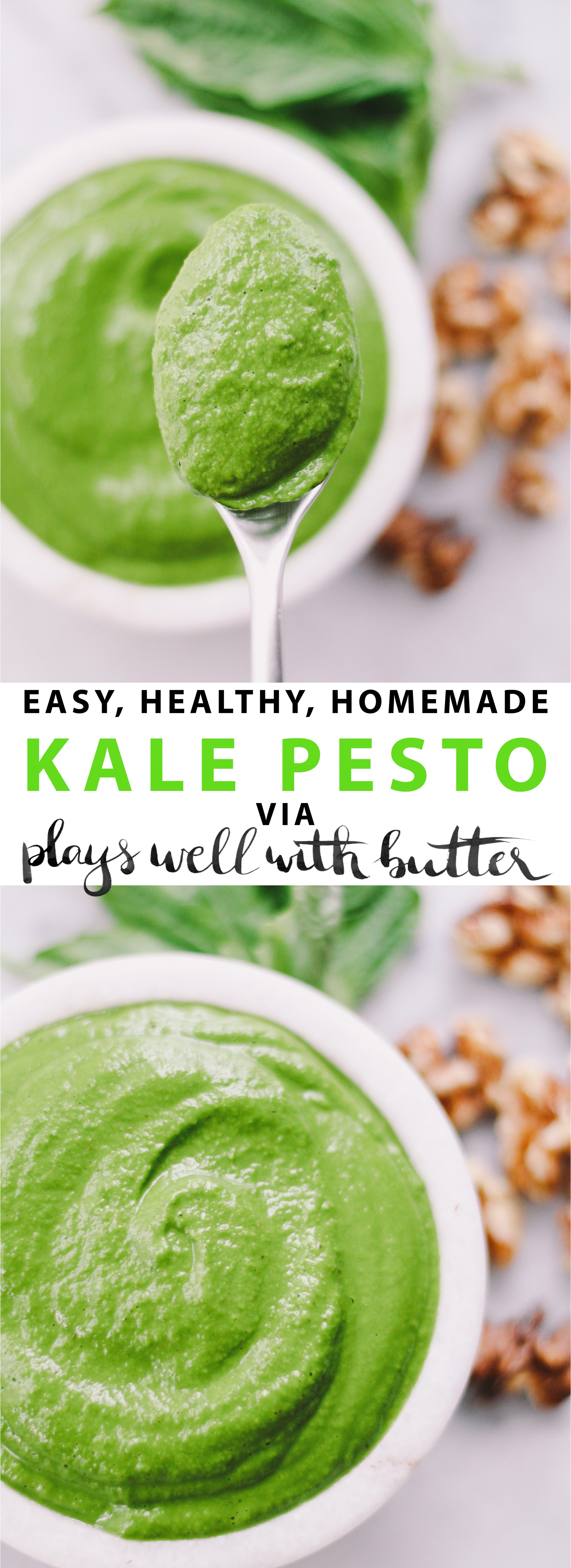 kale pesto via playswellwithbutter | easy, delicious & versatile, kale pesto will become a fridge staple in your house!
