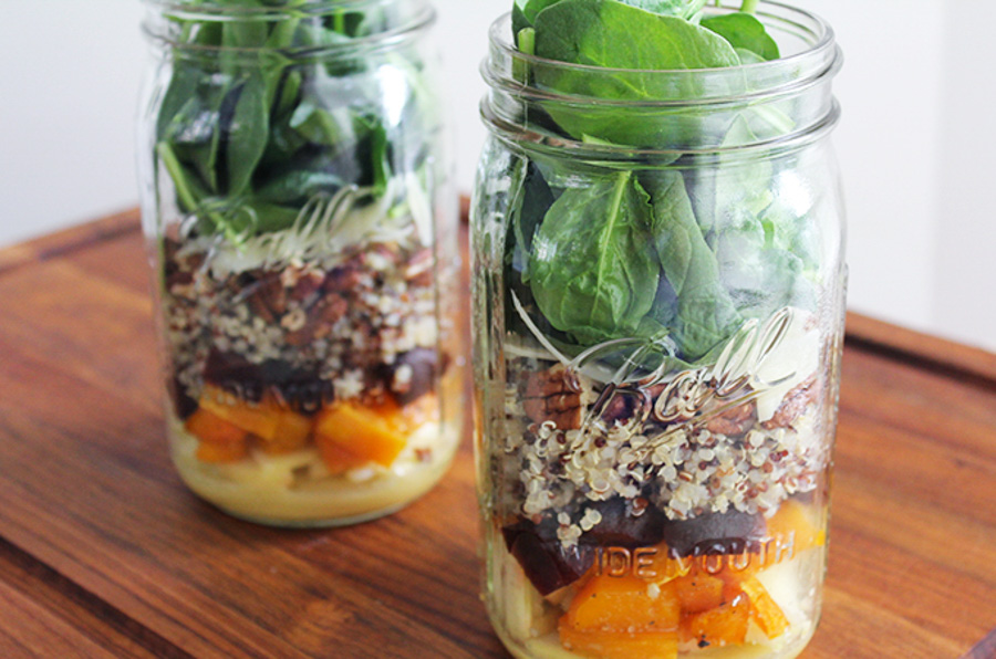 butternut squash & quinoa mason jar salads via fitliving eats & 24 more make-ahead meals via playswellwithbutter | with just a little planning in advance & a little organization over the weekend, you can set yourself up with a week's worth of delicious meals that will come together faster than you could order pizza or pick up chipotle.