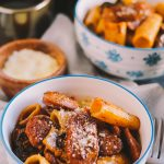 marsala pasta with spicy italian sausage & mushrooms