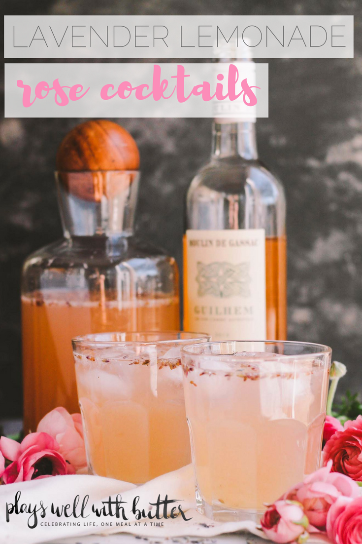lavender lemonade rosé cocktails taste like summer! pair your favorite dry rosé with a tangy & sweet homemade lavender lemonade & topped with sparkling water. be prepared to sip on these lavender lemonade rosé cocktails all summer long. these simple pink drinks are perfect for mother's day, bridal showers, girls night, or just having a drink or two on a friday night while your guy drinks beer. seriously pretty, seriously delicious, seriously easy! | cocktail recipe, lavender cocktail, rose cocktail, girls night, summer drink |