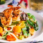 aglio olio zoodles with summer vegetables and shrimp
