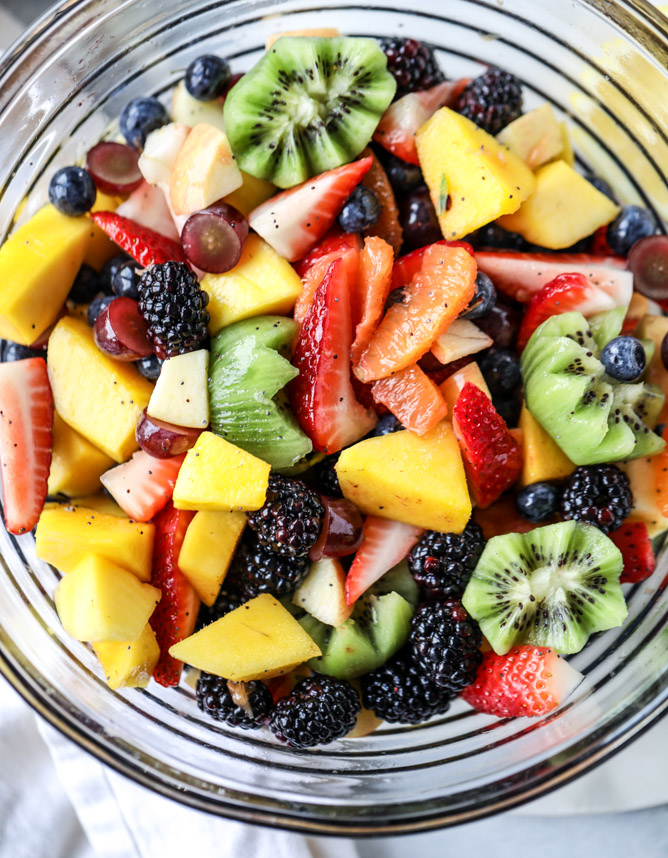 poppyseed fruit salad + 50 recipes for perfect for summer parties! | summer food, summer parties, summer recipes, summer appetizers, summer desserts, summer drinks, easy entertaining, entertaining tips |