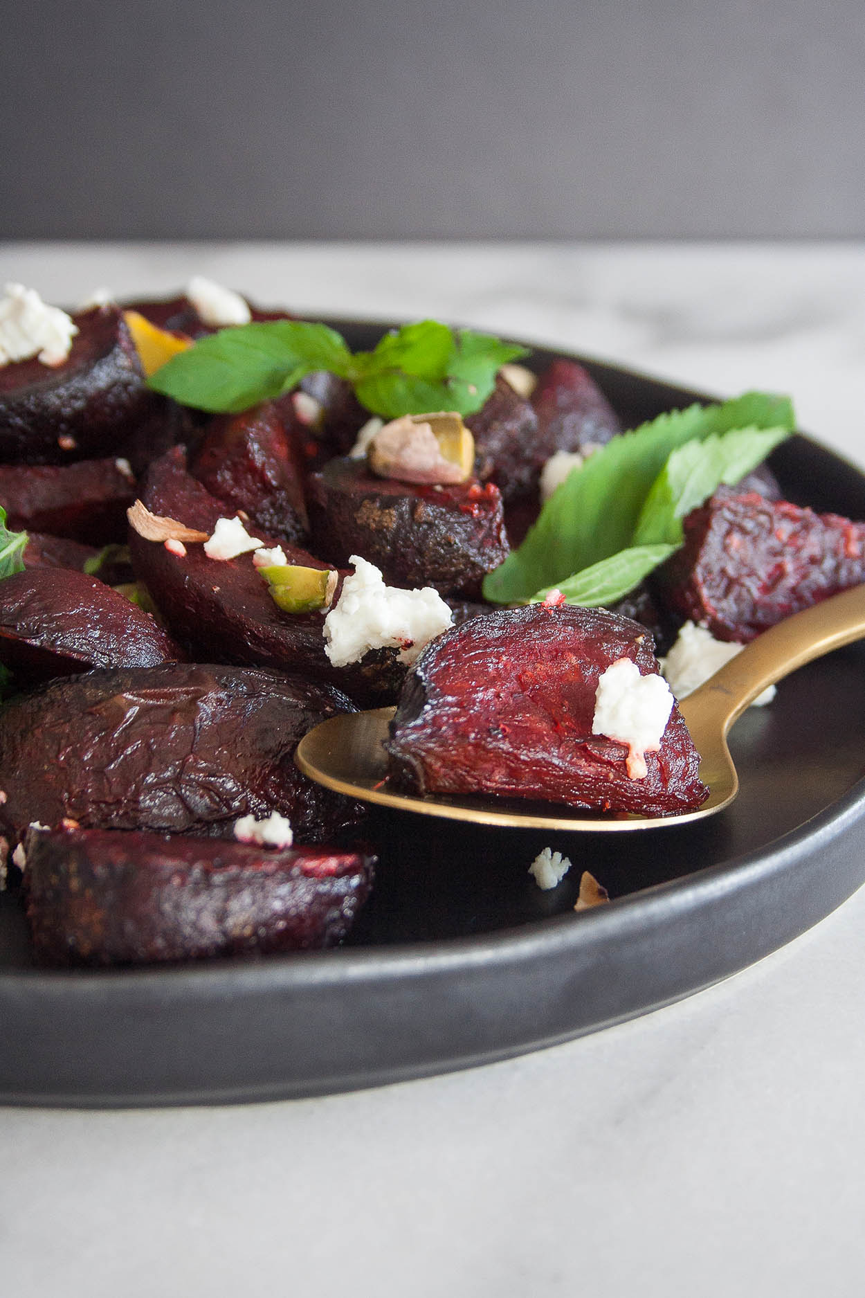 roasted beet and goat cheese salad with pistachios and mint + 6 more farmer's market recipes | healthy recipes, farmer's market produce, fresh recipes, summer food |