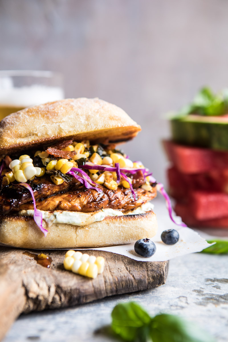 spicy maple grilled chicken sandwiches with bacon & corn + 50 recipes for perfect for summer parties! | summer food, summer parties, summer recipes, summer appetizers, summer desserts, summer drinks, easy entertaining, entertaining tips |