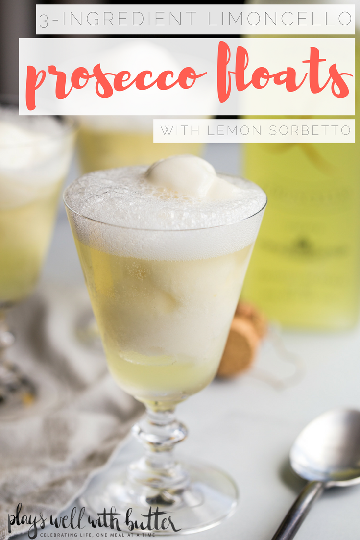 3-ingredient limoncello prosecco floats with lemon sorbetto are the perfect boozy dessert cocktail for summer! a scoop of lemon sorbetto gets simply drowned with a shot of limoncello & topped off with a generous splash of prosecco. light, refreshing, & easy. the perfect ending for any summer gathering!