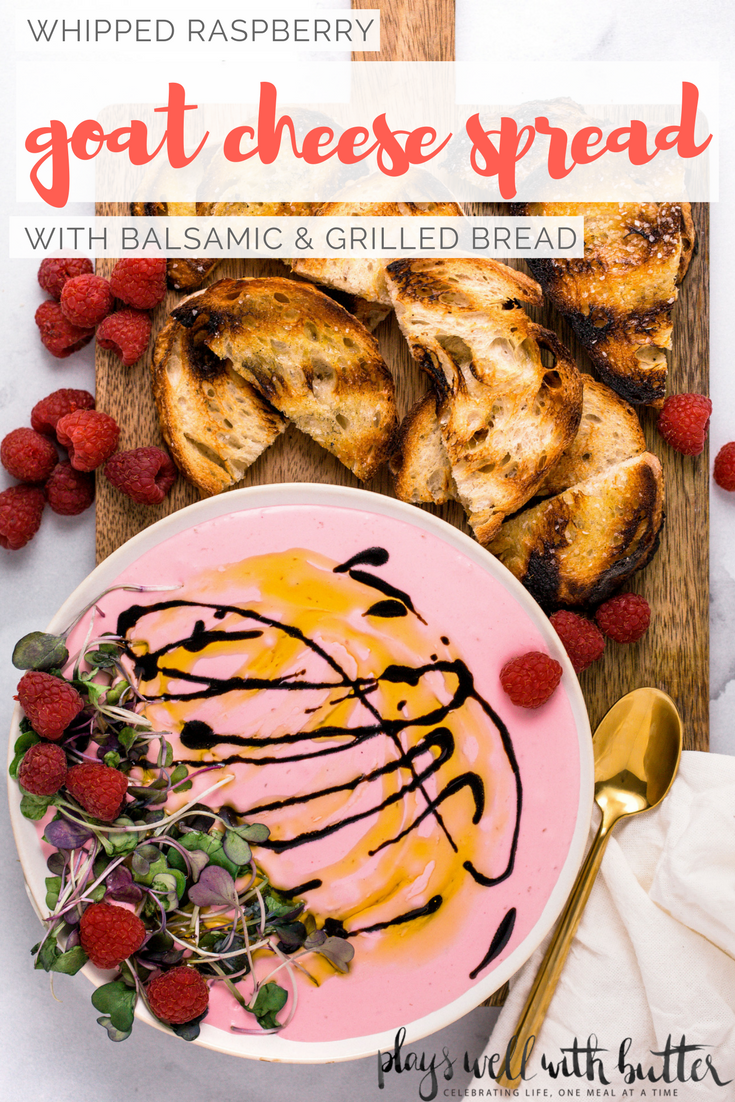 tart and juicy fresh raspberries whipped into creamy goat cheese with honey to make this whipped raspberry goat cheese spread. topped with a drizzle of reduced balsamic and served up with grilled bread, this whipped raspberry goat cheese spread is the perfect easy & elegant appetizer for any dinner party or girls night! #easyappetizerrecipe #rasberryrecipe #goatcheesespread #girlsnightidea #girlsnightrecipe #playswellwithbutter