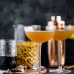 chai cocktail with golden raisin rum & vanilla chai syrup