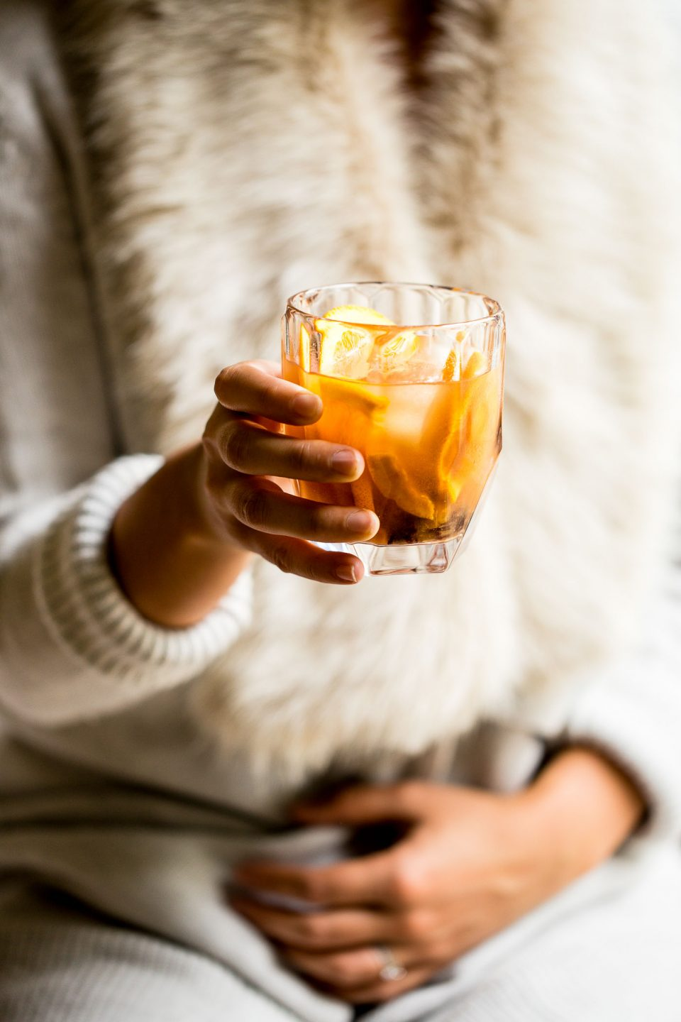 cozy bourbon old fashioneds sweetened with homemade sweet potato simple syrup. the perfect autumn cocktail for fall parties or a cozy date night at home. #playswellwithbutter #cocktail #cocktailrecipe #oldfashioned #oldfashionedrecipe #easydrinkrecipe #sweetpotatosimplesyrup #datenightathome