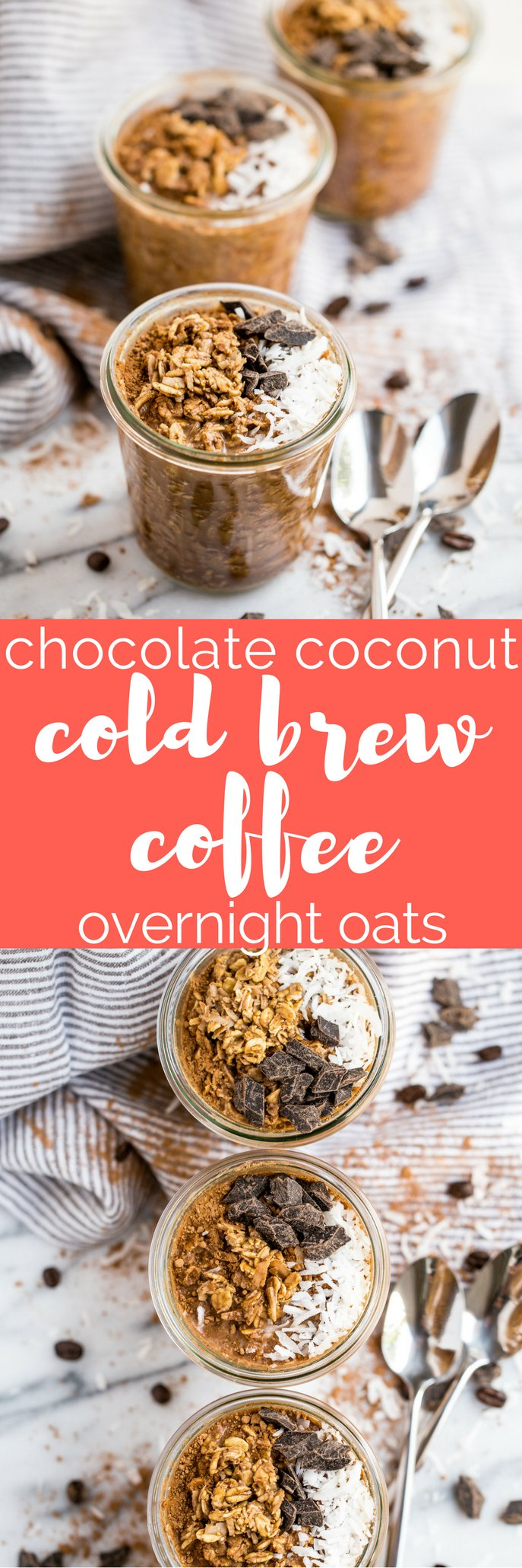 not your average overnight oats! these chocolate coconut cold brew overnight oats do double duty as a healthy on-the-go breakfast & a jolt of caffeine! #playswellwithbutter #coldbrew #overnightoats #healthybreakfast #breakfastrecipe #easybreakfast #oatmeal