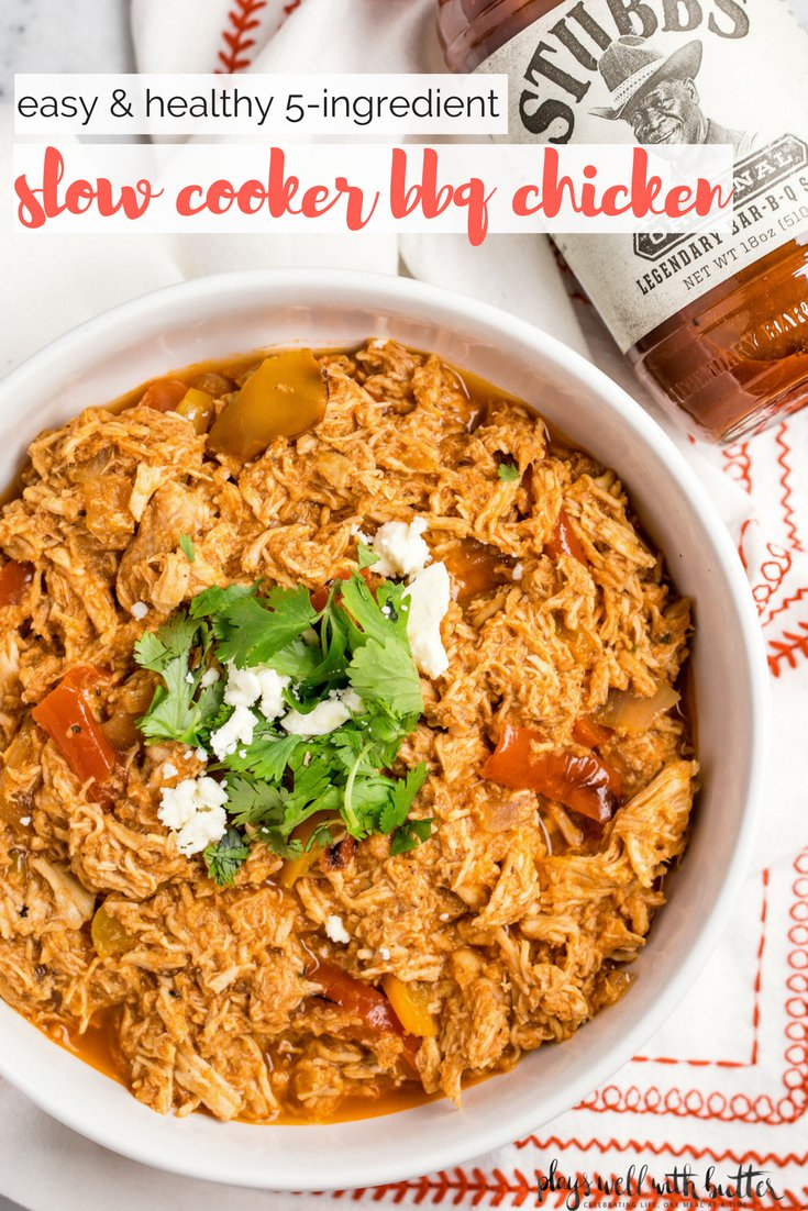 the easiest slow cooker bbq chicken recipe! this easy slow cooker bbq chicken only requires 5 ingredients, is totally meal-prep friendly, is paleo & whole30 friendly, & is SO versatile. say hello to your new go-to slow cooker bbq chicken recipe! #playswellwithbutter #slowcookerrecipe #crockpotrecipe #healthydinnerrecipe #easydinnerrecipe #bbqchicken #barbecuechicken