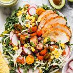 kale taco salad with roasted jalapeno lime vinaigrette