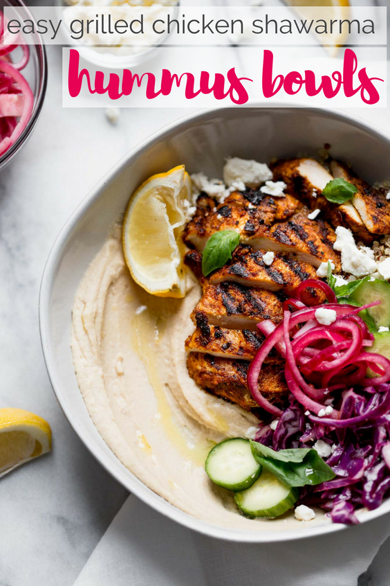 healthy & hearty grilled chicken shawarma hummus bowls!!! a generous dollop of hummus gets served with quinoa, a light red cabbage slaw, feta, & grilled chicken shawarma. a healthy & easy weeknight dinner, or an easy meal to prep for grab-&-go lunches this week! #playswellwtihbutter #hummusbowls #chickenshawarma #chickenshawarma #healthyrecipe #easyrecipe #mealprep #bowlrecipe