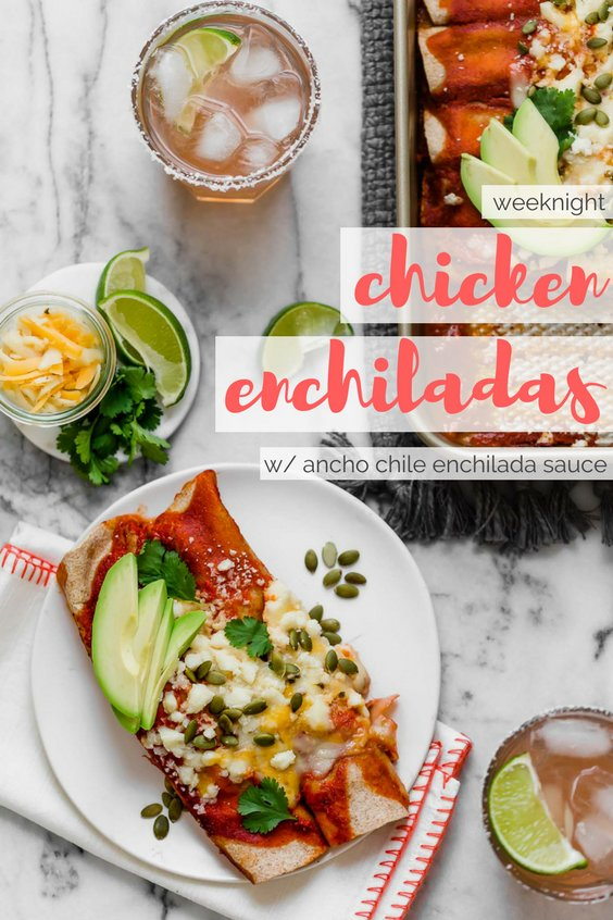an easy & healthy chicken enchilada recipe perfect for weeknight cooking! these weeknight chicken enchiladas have a filling of pulled chicken, bell pepper sweet onion, black beans, & cheese, and get covered in the easiest blender enchilada sauce made from ancho chiles. the only thing missing is a couple of margaritas! #playswellwithbutter #easychickenenchiladas #healthyenchiladas #mexicanfoodrecipes #homemadenchiladasauce #enchiladasaucerecipe