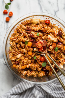 mediterranean pasta salad with sun dried tomatoes in bowl