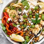 grilled vegetable primavera bowls with pesto & smoky chickpeas