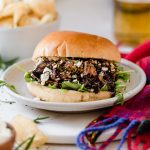 slow cooker rosemary & garlic balsamic lamb sandwiches