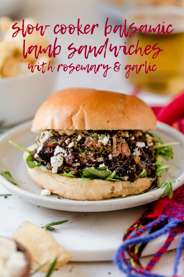 slow cooker rosemary & garlic balsamic lamb sandwiches. a majorly delicious & majorly easy lamb slow cooker recipe. lamb shoulder slowly simmers away with tons of garlic, fresh rosemary, & balsamic vinegar, then gets shredded for the best slow cooker lamb sandwiches. an easy & delicious recipe for any fall potluck, football get-together, or holiday party this season! #plasywellwithbutter #slowcookerrecipes #crockpotmeals #lambrecipes #lambshoulder #easylambrecipe #lambsandwich