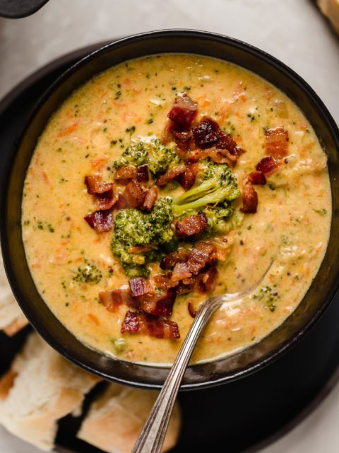 bacon beer cheese broccoli cheddar soup. a cross between two classic comforting soups, beer cheese soup & broccoli cheese soup, this bacon beer cheese broccoli cheddar soup is thick, luscious, creamy, & decadent. the ultimate comfort food dinner to warm you up on a cold night this winter! #playswellwithbutter #broccolicheddarsoup #broccolicheesesoup #bestbroccolicheesesoup #creamybroccolicheesesoup #beercheesesoup #bestbeercheesesoup #baconbeercheesesoup #comfortfood #comfortfoodrecipes